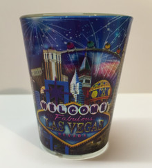 Las Vegas Metalic Look Shot Glass