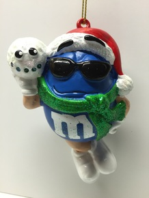 M&M Candy Blue Holiday Christmas Tree Ornament