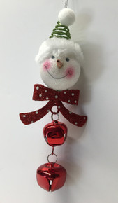 Snowman Head Christmas Tree Ornament Holiday Jingle Bells