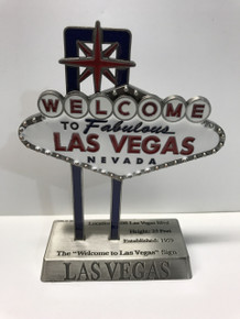 Welcome To Las Vegas Sign Pewter Enamel 5 inch Miniature Replica