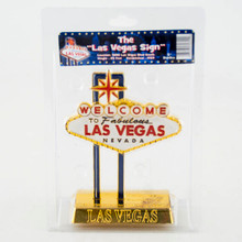 Welcome To Las Vegas Sign Gold Tone Enamel 5 inch Miniature Replica