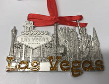 Las Vegas Strip Hotels Pewter Hanging Ornament