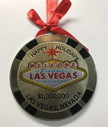 Las Vegas Sign $1 Million Casino Chip Holiday Hanging Ornament