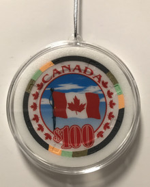 Canadian Canada Poker Chip Christmas Ornament