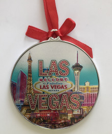 Las Vegas Strip Hotels Round Holiday Ornament