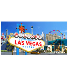 Las Vegas Welcome Sign Hotels Blue 100% Cotton Beach Towel