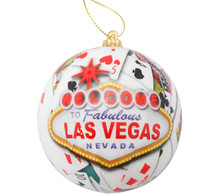 Las Vegas Sign Christmas Tree Ball Ornament Poker Playing Cards
