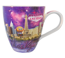 Las Vegas Large Belly Coffee Mug Purple Skyline