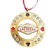 Las Vegas Sign Round Rhinestone Goldtone Ornament