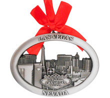 Las Vegas Skyline Hotels Metal Oval Hanging Christmas Ornament