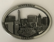 Las Vegas Skyline Antique Silver Oval Magnet