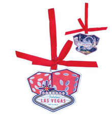 Las Vegas Welcome Sign Red Dice Holiday Christmas Hanging Tree Ornament