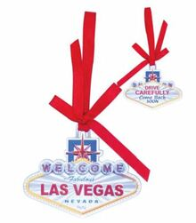 Las Vegas Welcome Sign Holiday Christmas Hanging Tree Ornament Come Back Soon