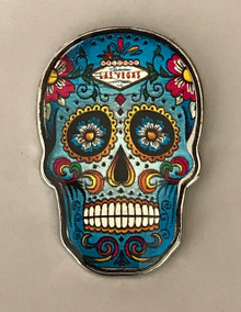 Las Vegas Sign Blue Skull Pin