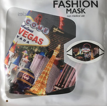 Las Vegas Strip Scene Washable Cloth Black Face Mask