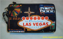 Las Vegas Zippered Canvas Cosmetic Bag