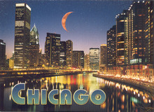 Chicago River Skyline Glitter Postcard