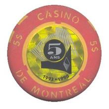 Casino de Montreal Canada $5 Anniversary Casino Chip