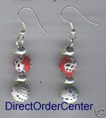 Kaolin Clay Beads & Silver Ball Earrings