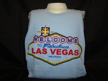 Welcome To Las Vegas Sign Light Blue T-Shirt