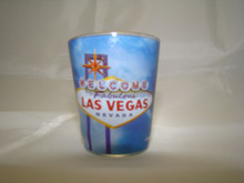 Las Vegas Welcome Sign Blue Shot Glass