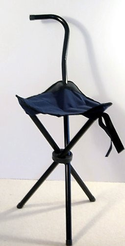 Folding Portable Walking Stick Cane / Soft Seat Chair Travel Camp ...