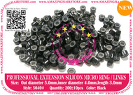 Silicon Micro Ring for 100% Remy Human Hair I tip fusion extensions-5040-BLACK
