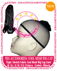 12pcs Black Mesh Wig Caps for Lace Front Hair Wigs