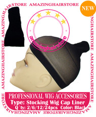 24pcs Black Stocking Wig Caps for Lace Front Hair Wigs
