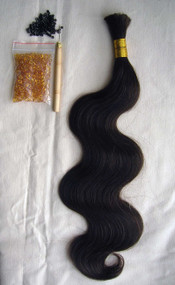 "24"" 100% Brazilian Remy Human Hair Extensions Euro Wave- 2#"