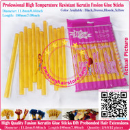 12pcs High Quality Heat Resistant Large Keratin Fusion Glue Stick to making Fusion Hair Extensions Arts Crafts -Blonde