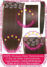 "19"" 9pcs 100% Human Hair clip in hair extension - 4#"