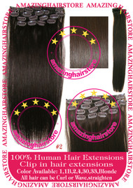 "19"" 9pcs 100% Human Hair clip in hair extension - 2#"