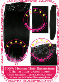 "19"" 9pcs 100% Human Hair clip in hair extension - 1#"