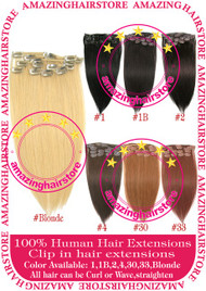 "15"" 9PCS 100% Human Hair Clips In Extensions -Blonde#"