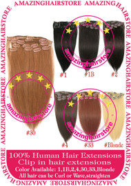 "15"" 9PCS 100% Human Hair Clips In Extensions -30#"