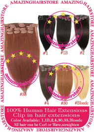 "15"" 9PCS 100% Human Hair Clips In Extensions -33#"