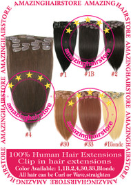 "15"" 9PCS 100% Human Hair Clips In Extensions -4#"