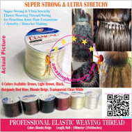 100m Strong Ultra Stretchy Elastic Weaving Thread for Brazilian Knot Extensions Jewelry Bracelet-Beige