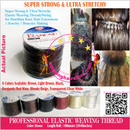 100m Strong Ultra Stretchy Elastic Weaving Thread for Brazilian Knot Extensions Jewelry Bracelet-Brown