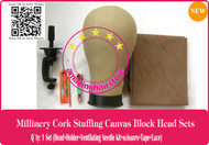 NEW Millinery Cork Canvas Block Head+holder+lace+DIY toolset for Lace Wigs Making