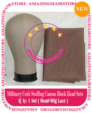 NEW Millinery Cork Canvas Block Head +lace for Lace Wigs Making