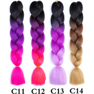 Color C1~C26 of 120 Colors High Quality Braiding Hair 24 inch Jumbo Braids Ombre Synthetic Fiber Hair Extensions-FREE Shipping