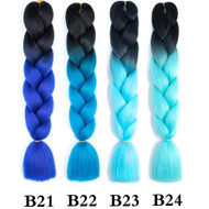 Colors B1~B50  of 100 Colors High Quality Braiding Hair 24 inch Jumbo Braids Ombre Synthetic Fiber Hair Extensions-FREE Shipping