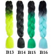 the Color No B1~B50  of 100 Colors High Quality Braiding Hair 24 inch Jumbo Braids Ombre Synthetic Fiber Hair Extensions-FREE Shipping