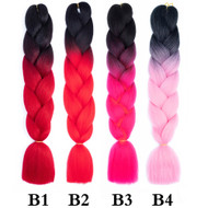 Colors No B1~B50 of 100 Colors High Quality Braiding Hair 24 inch Jumbo Braids Ombre Synthetic Fiber Hair Extensions-FREE Shipping