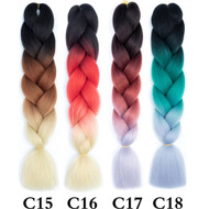 Colors C1~C26 of 120 Colors High Quality Braiding Hair 24 inch Jumbo Braids Ombre Synthetic Fiber Hair Extensions-FREE Shipping