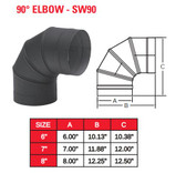 "SINGLE WALL BLACK 7"" X 90 DEG ELBOW  7SW90"