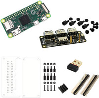 MakerSpot Raspberry Pi Zero Basic Starter Kit with 4-Port Stackable USB Hub, WiFi Dongle, Acrylic Protectors and 20-Pin Headers