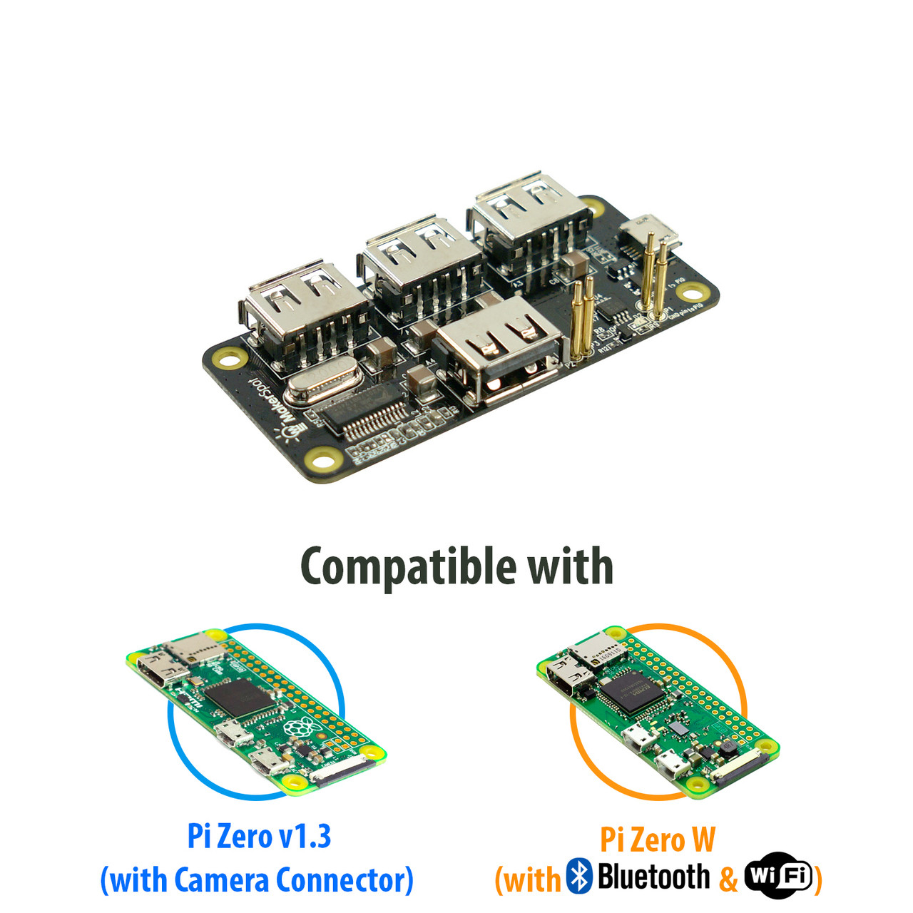 4-Port Stackable USB Hub HAT for Raspberry Pi Zero V1 3 with Protector,  2 4A Power Supply, 1 5m Micro USB Cable with On Off Switch, WiFi Dongle,  8GB